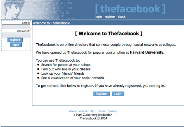 Facebook launched in February 2004. Here is what it looked like.
